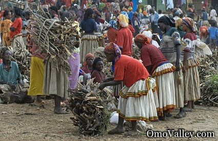 Several Tribes at the Local Market in Southern Ethiopia