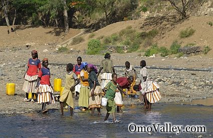 Tribal Women collecting water from the Omo River